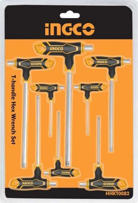 Ingco 8 Pcs T-handle Ball Point Hex Wrench Set 2-10mm HHKT0082