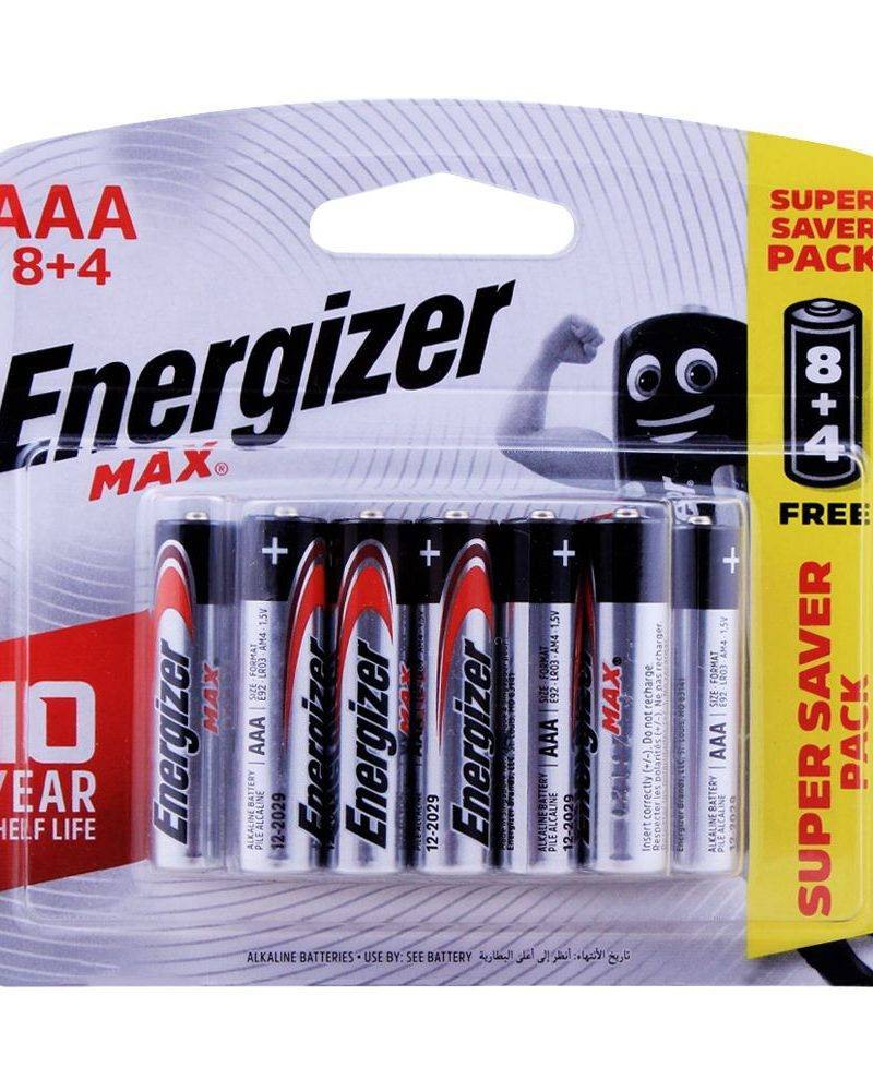 Energizer Max Battery Alkaline AAA (Price of 12)